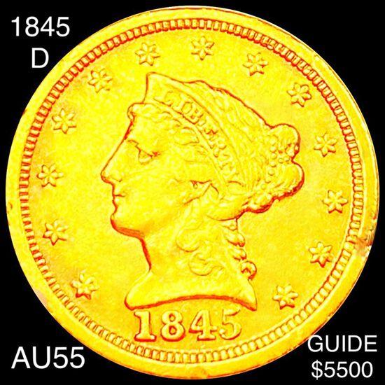 1845-D $2.50 Gold Quarter Eagle CHOICE AU