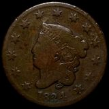 1824 Coronet Head Large Cent NICELY CIRCULATED