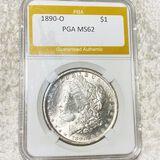 1890-O Morgan Silver Dollar PGA - MS62
