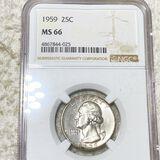 1959 Washington Silver Quarter NGC - MS66