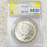 1922-D Silver Peace Dollar ANACS - MS64