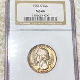 1954-S Washington Silver Quarter NGC - MS66