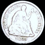 1868-S Seated Half Dime NICELY CIRCULATED