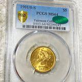 1901/0-S $5 Gold Half Eagle PCGS - MS 64 CAC