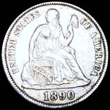 1890-S Seated Liberty Dime ABOUT UNCIRCULATED