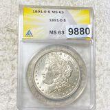 1891-O Morgan Silver Dollar ANACS - MS63