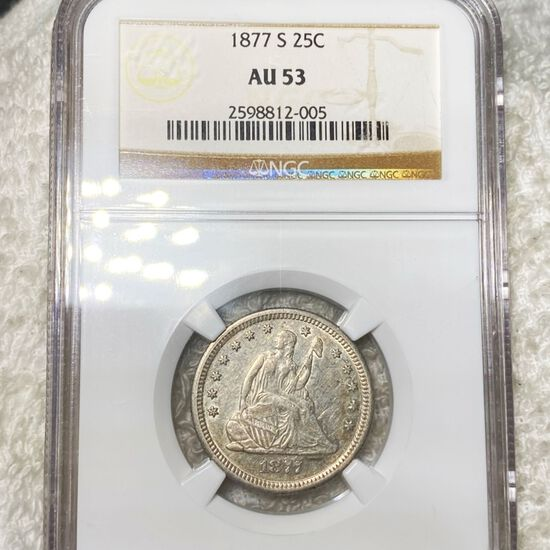 1877-S Washington Silver Quarter NGC - AU53