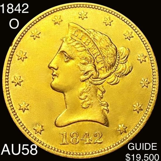1842-O $10 Gold Eagle CHOICE AU