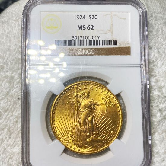 1924 $20 Gold Double Eagle NGC - MS62