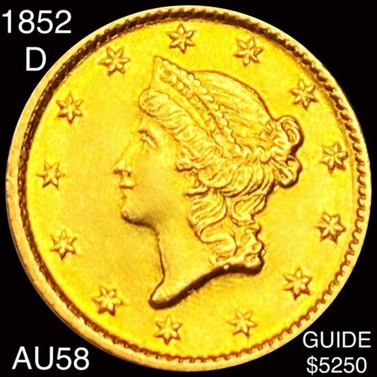 1852-D Rare Gold Dollar CHOICE AU