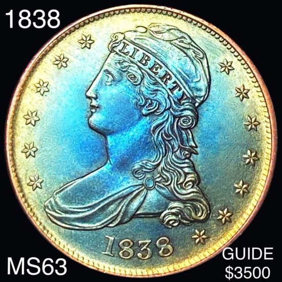 1838 Capped Bust Half Dollar CHOICE BU