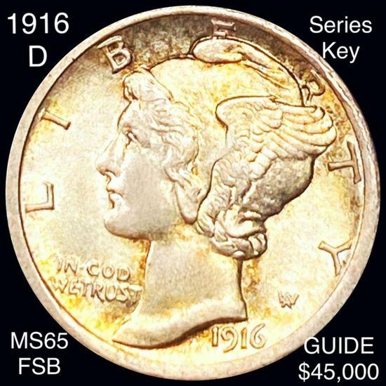 1916-D Mercury Silver Dime GEM BU FSB