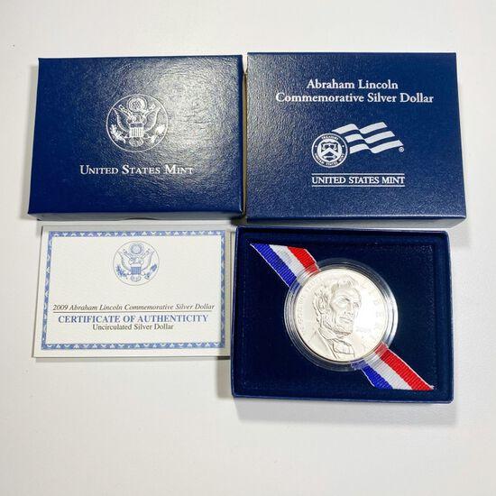 2009 Abraham Lincoln Silver Dollar GEM BU