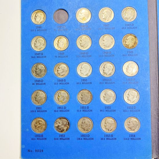 1946-1964 Roosevelt Dime Book MOST UNC 48 COINS
