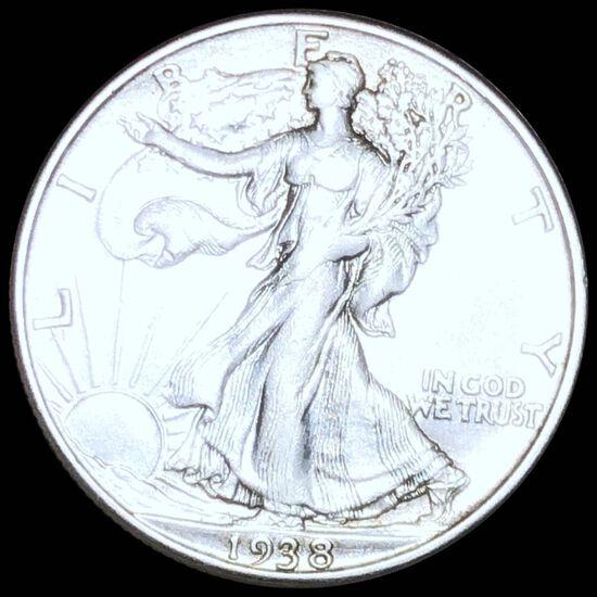 1938-D Walking Half Dollar XF+