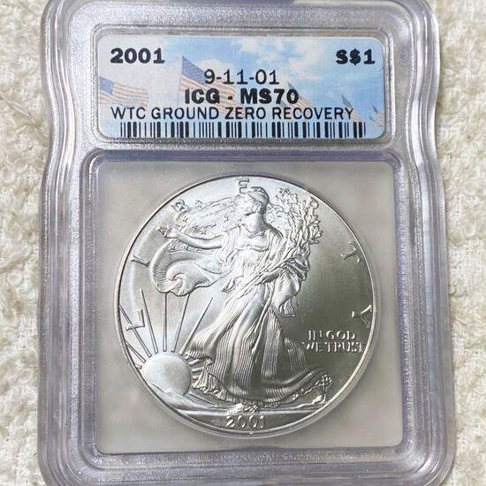 2001 Silver Eagle ICG - MS70 GROUND ZERO RECOVERY