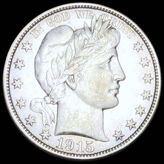 1915-S Barber Silver Half Dollar NEARLY UNC