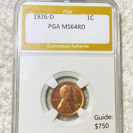 1926-D Lincoln Wheat Penny PGA - MS 64 RD