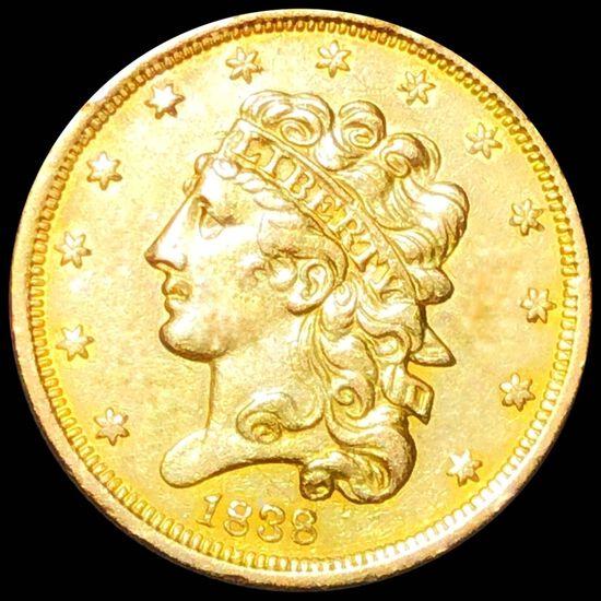 1838 $5 Gold Half Eagle CLOSELY UNC