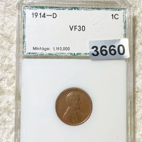 1914-D Lincoln Wheat Penny PCI - VF30