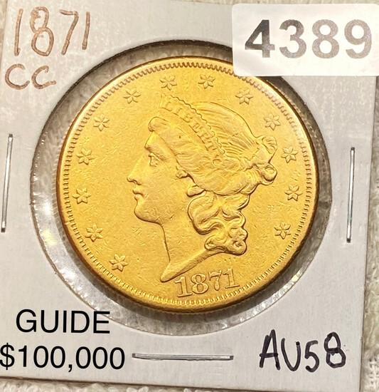 1871-CC $20 Gold Double Eagle CHOICE AU