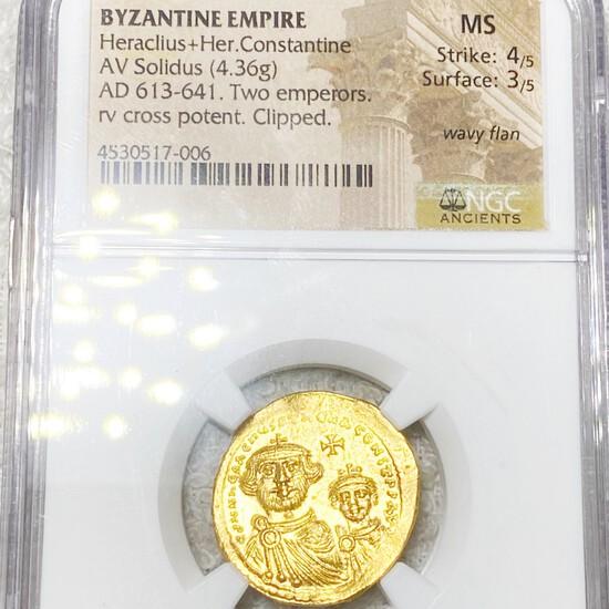 AD 613-641 Byzantine Empire AV Solidus NGC - MS
