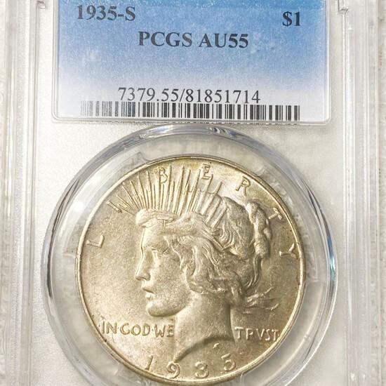 1935-S Silver Peace Dollar PCGS - AU55