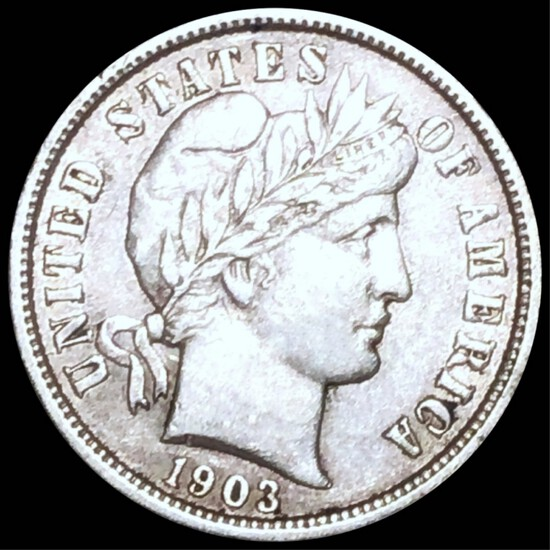 1903 Barber Silver Dime NEARLY UNCIRCULATED