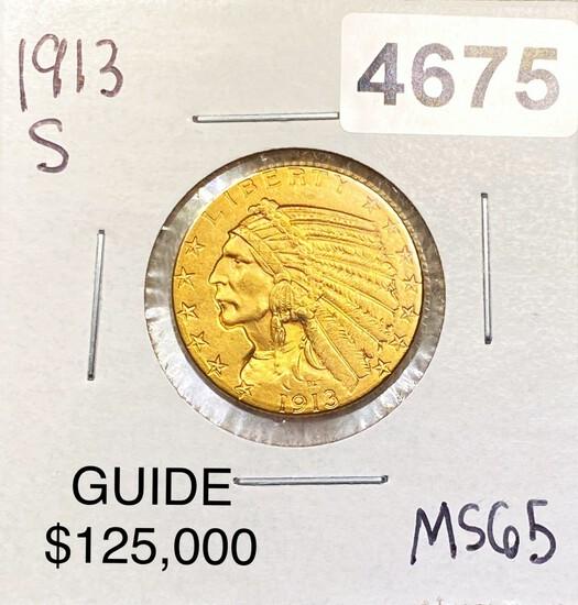 1913-S $5 Gold Half Eagle GEM BU