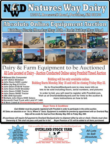 Nature's Way Dairy Equipment Auction