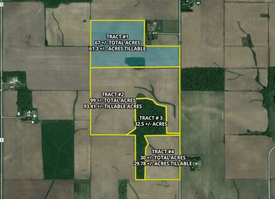 Tract 1. 67 +/- total acres with 61.3 +/- acres tillable