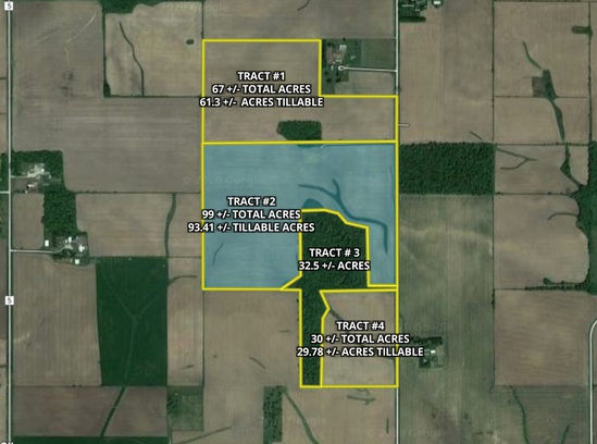 Tract 2. 99 +/- total acres with 93.41 +/- acres tillable.