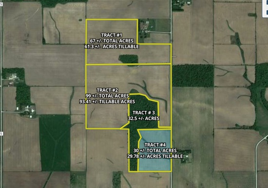 Tract 4. 30 +/- total acres with 29.78 +/- acres tillable