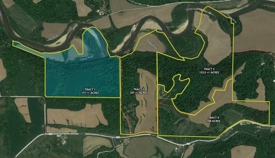 Tract 1 - 117± total acres with 38± acres tillable
