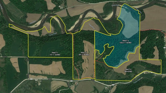 Tract 3 - 133.5± acres with 33± acres tillable