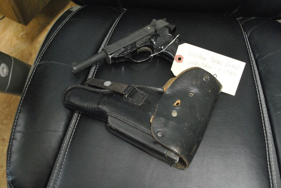 WALTHER 9MM PISTOL W/ HOLSTER & 2 CLIPS