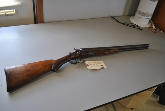 BAYARD ARMS ANTIQUE SxS 12GA SHOT GUN- HAMMER TYPE