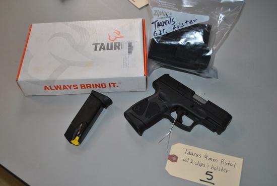 TAURUS G3C 9MM PISTOL W/ 2 CLIPS & HOLSTER