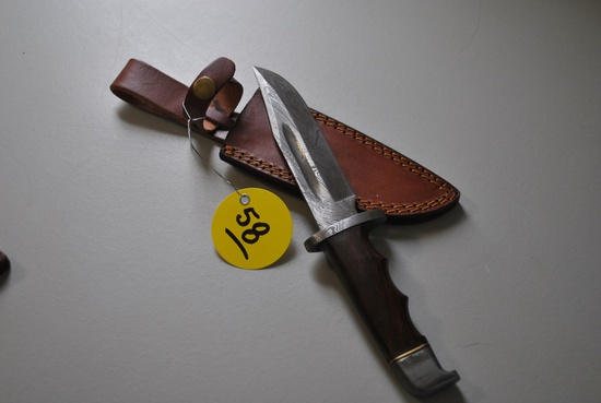 DAMASCUS BOWIE KNIFE W/ SHEATH