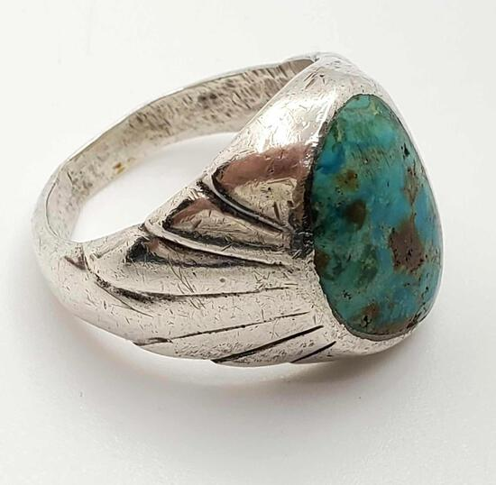 Men's Heavy Turquoise Sterling Silver Ring