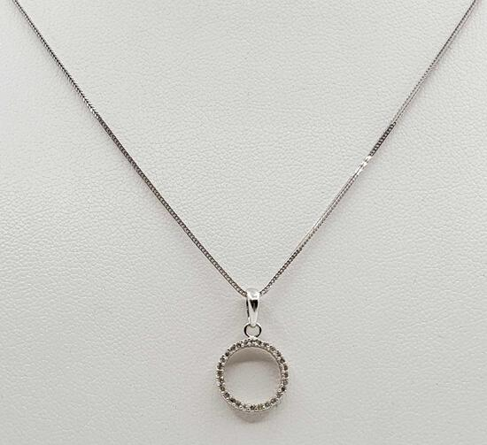 Italian 14k White Gold Diamond Pendant Necklace