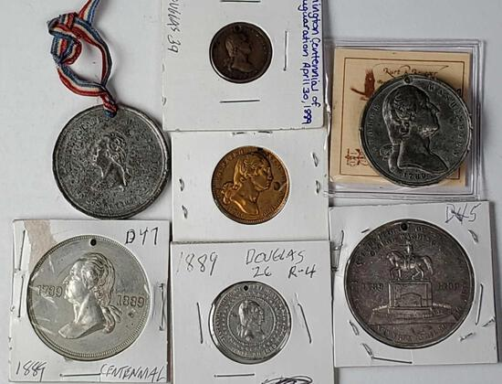 7 George Washington 1889 Centennial Coin Medals