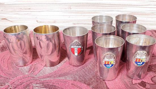 9 Vintage .800 Silver Shot Glasses