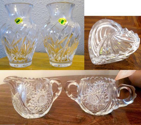 5 Pcs Waterford Cut Crystal - 2 vases, box, cream and sugar
