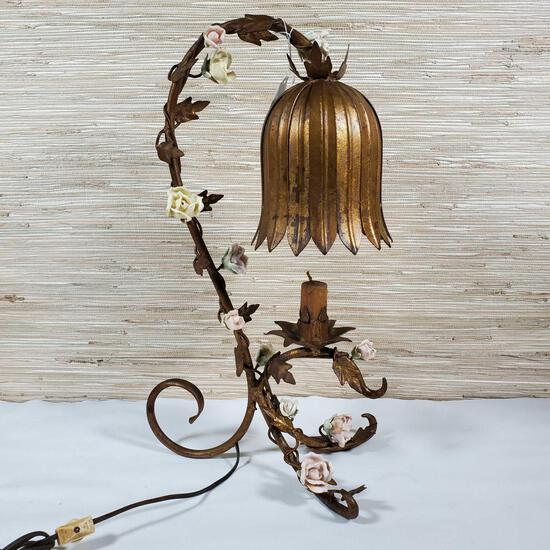 Vintage Italian Gold Leaf Metal Table Lamp With Porcelain roses
