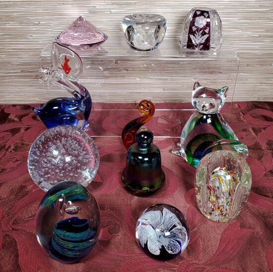 11 Art Glass Paperweights & Animal Figures