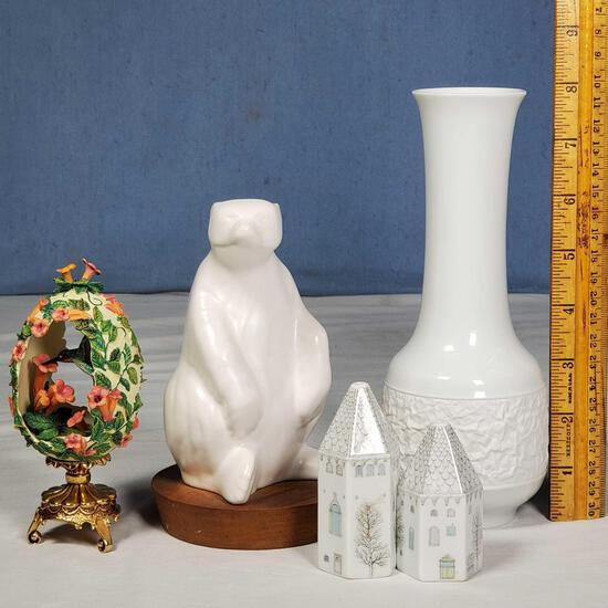 4 Pcs Hutschenreuther and Herta White Porcelains