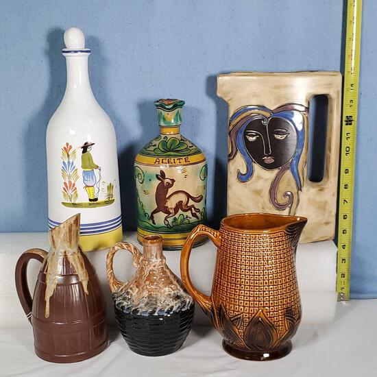 6 Mid Century, French, Mexico and Other Pitchers, Jugs and Decanters