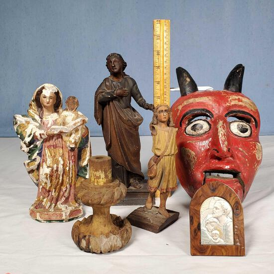 Box Lot of Santos Folk Art and Related Religious Figures