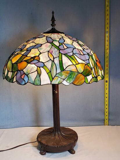Stain Glass Cala Lily Shade Table Lamp with Nouveau Inspired Base